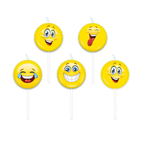 Candeline Picks Emoticons Smile 5 pz