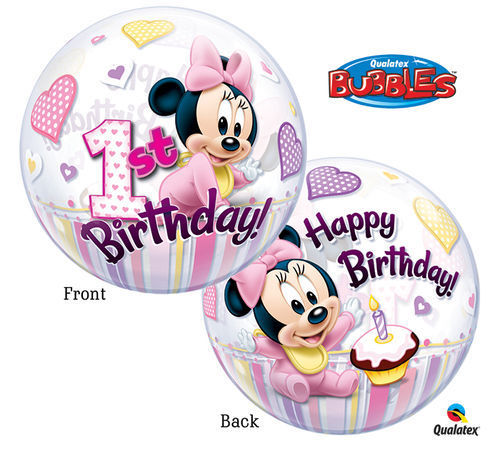 Palloncino Bubbles Baby Minnie 1° Compleanno Ø 56 cm