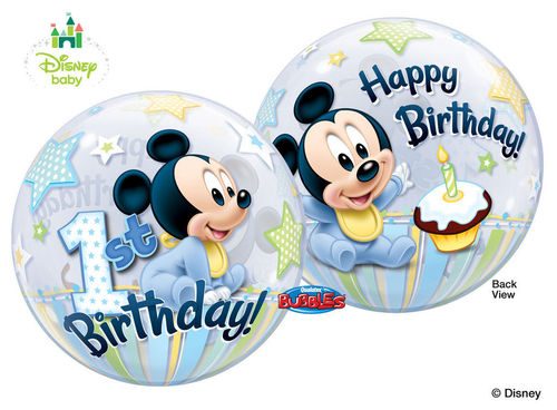 Palloncino Bubbles Baby Mickey 1° Compleanno Ø 56 cm