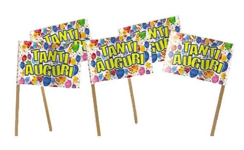 Picks Bandierine Tanti Auguri Happy Balloons 50 pz