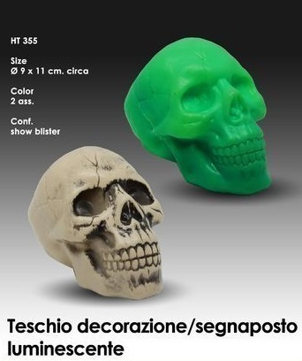 Teschio Decorativo Small Segnaposto Luminescente