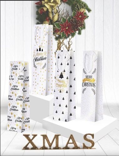 Busta Shopper per 1 Bottiglia Marry Christmas 10+9x39 cm