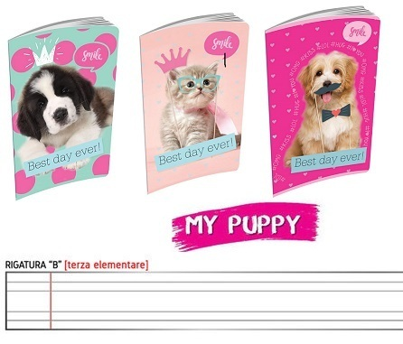 10 Maxi Quaderni rigo B Active My Puppies 20 Fogli Fantasie Assortite