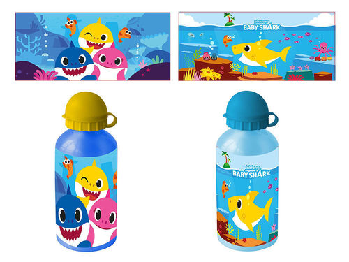 1 Borraccia in Alluminio 500 ml Baby Shark Modelli Assortiti